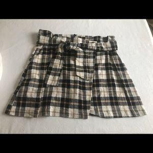 Zara Plaid Belt Tie Mini Skirt Sz XL NWT